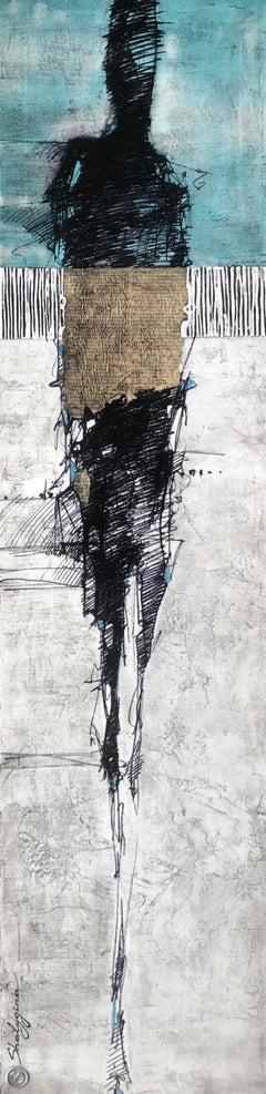 "Original Turquoise Gray White Modern Contemporary Abstract Figurative 48""x12"""