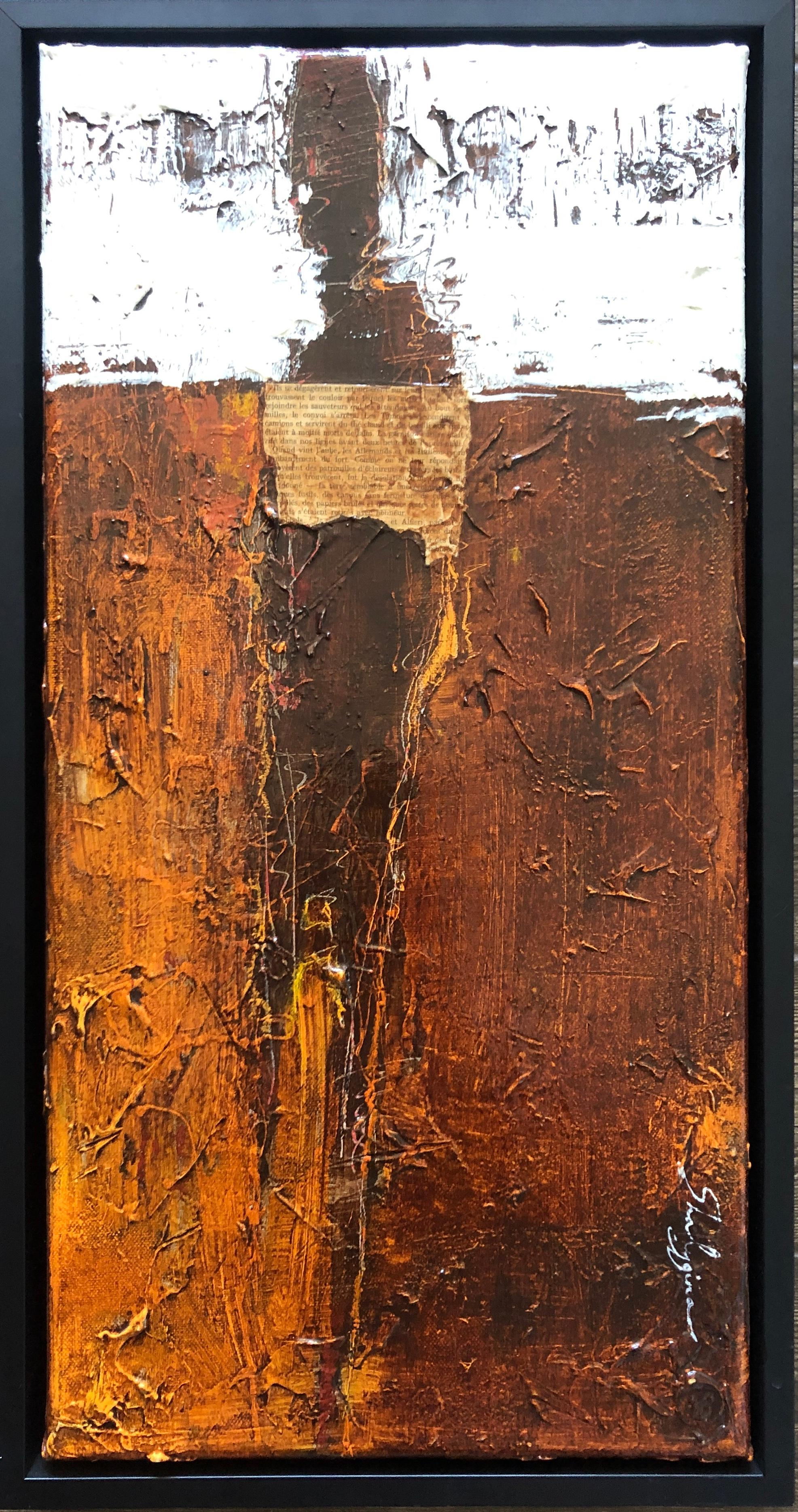 Original Weathered Rustic Brown Orange White Abstract Figurative 24x12 Framed