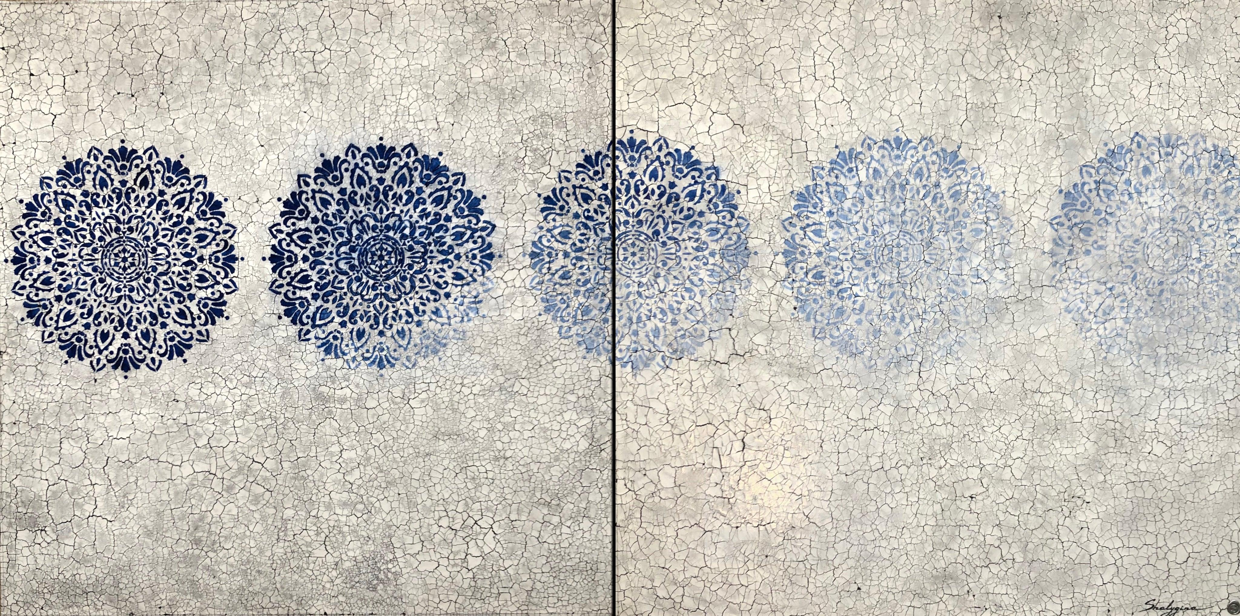 Blue Gray Large Scale Abstract Modern Contemporary Painting Diptych 48x48