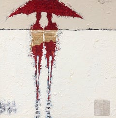 Red Abstract Figures Umbrella Contemporary Figurative Mixed Media Painting 36x36