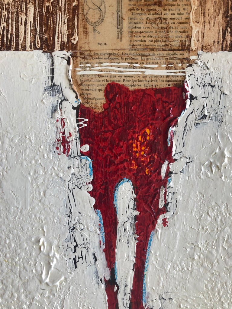 Figurative Abstract White Red Figure Weathered Contemporary Mixed Media 36x12  For Sale 1