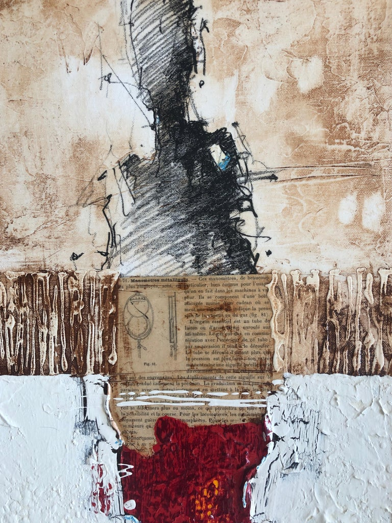 Figurative Abstract White Red Figure Weathered Contemporary Mixed Media 36x12  - Black Abstract Painting by Svetlana Shalygina