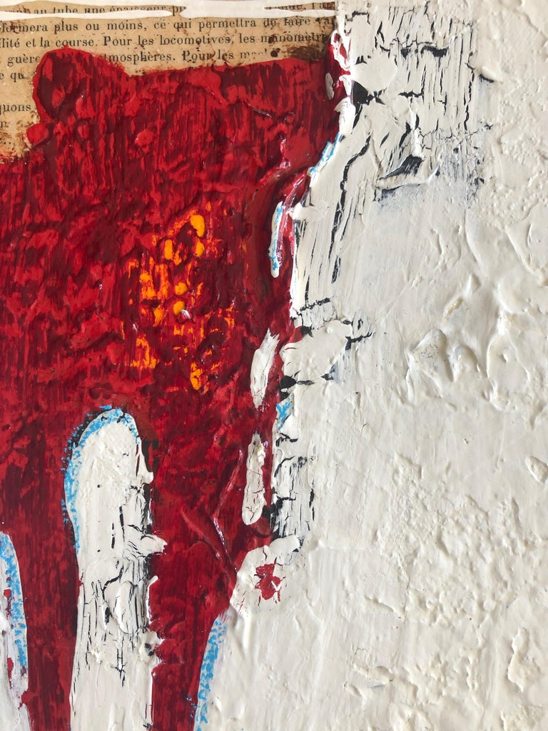 Figurative Abstract White Red Figure Weathered Contemporary Mixed Media 36x12  For Sale 4