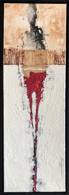 "Red Figurative Abstract Contemporary Mixed Media Framed 36x12 ""Pragmatic"""