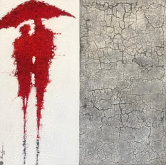 Red Figures Man Woman Umbrella Figurative Abstract Painting White Gray 36x36