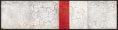 Red White Minimalist Contemporary Modern Mixed Media Abstract Painting 20x80