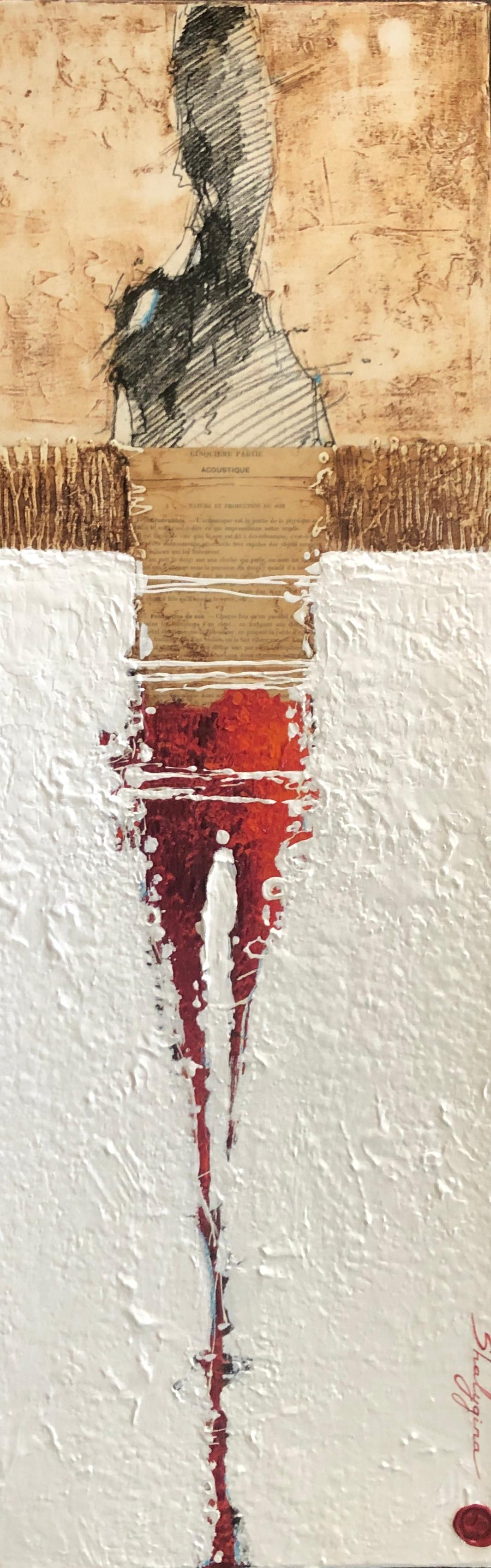 Red Orange White Original Contemporary Abstract Figurative Painting 36x12 Framed