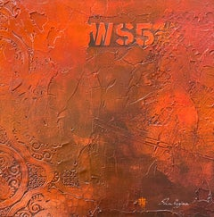 Rustic Red Orange Minimalist Contemporary Textural Abstract Mixed Media 20x20