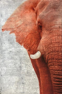 """Socially Intelligent""Original Burnt Orange Detailed Elephant Mixed Media 72x48"