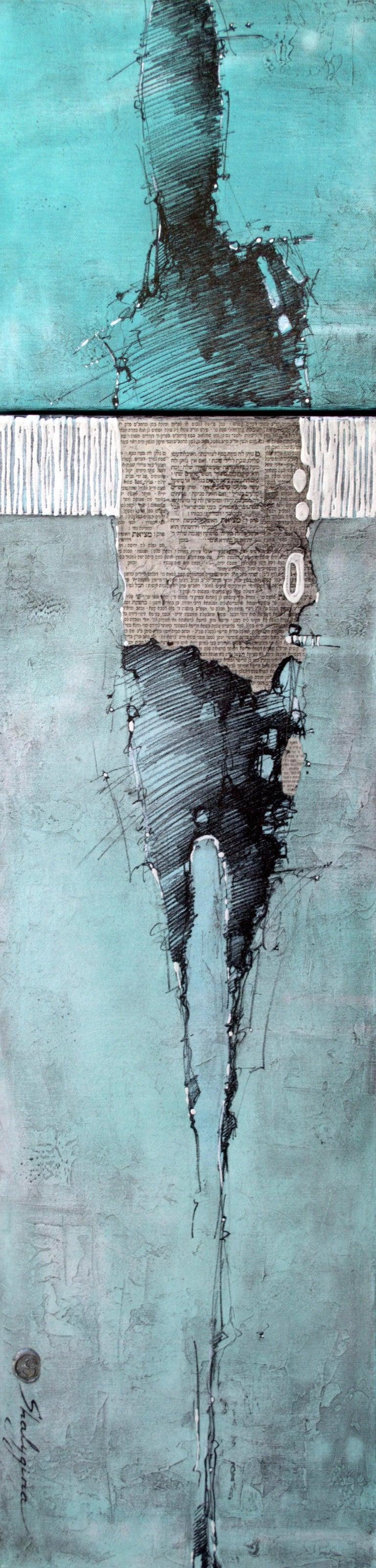 """Svetlana Shalygina. """"Tranquility of Mind"""" Teal Figurative mixed media painting - Mixed Media Art by Svetlana Shalygina"""