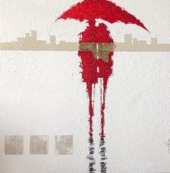 """The Umbrellas de Cherbourg"" series #31. Figurative, Impressionist mixed media."