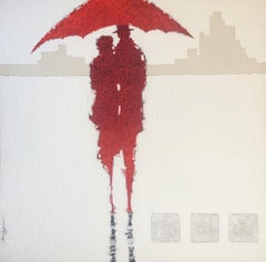 Large Red White Abstract Figurative Contemporary 60x60, Umbrellas of Cherbourg