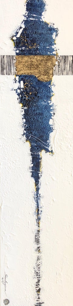 White Blue Tan Abstract Figure Textured Contemporary Mixed Media Painting 48x12