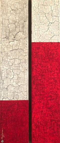 White Red Grey Original Minimalist Modern Contemporary Abstract  60x24 Diptych
