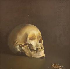 Nur die Toten .. Ende .. gesehen- 21st Century Contemporary painting of a Skull