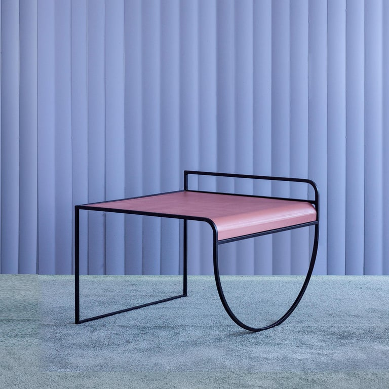"""SW side table by soft-geometry Materials: Powder coat steel frame with a flat, Bent steel top Dimensions: 26 x 24.5 x 20"""" H   Modern metal side table with a belly, featuring a fluid powder coat steel frame with a flat, bent steel top. The sw side"""