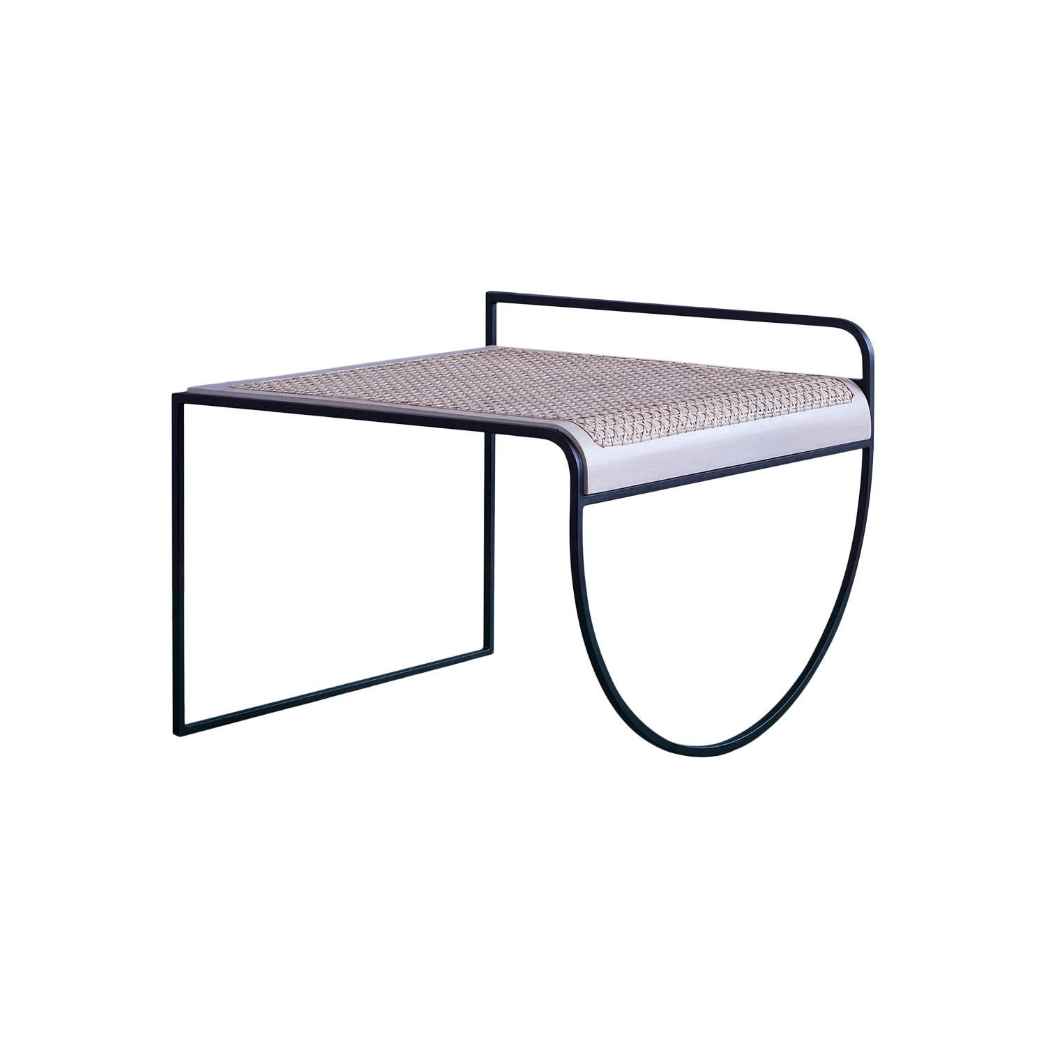 SW Side Table in Hand-Woven Cane and Steel by Soft-Geometry