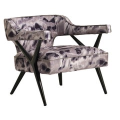 SW2 Lounge Armchair with Woven Upholstery and Matte Lacquered Finish