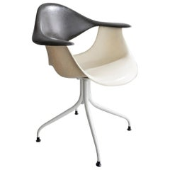Swaged Leg Chair in Gray and White by Georg Nelson & Associates, 1954
