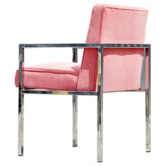 Swaim Chrome and Velvet Chair by John Mascheroni