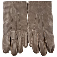 SWAINE ADENEY BRIGG Vintage Size M Dark Brown Smooth Leather Gloves