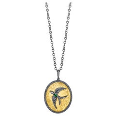 Swallow 22k Gold Pendant with Emerald and Diamonds