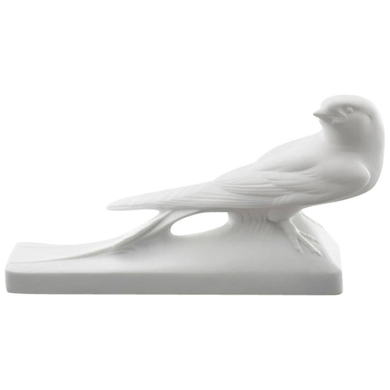 Swallow Animal Figure in White Biscuit Porcelain by Nymphenburg For Sale