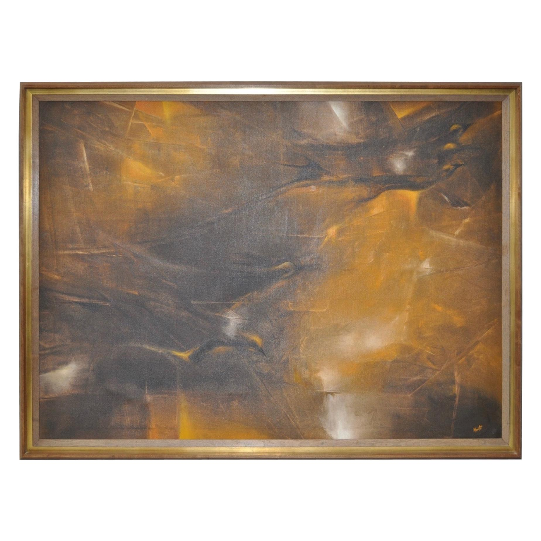 """Swallows Five"" Mid-Century Modern Abstract Painting by Monte, circa 1950s"