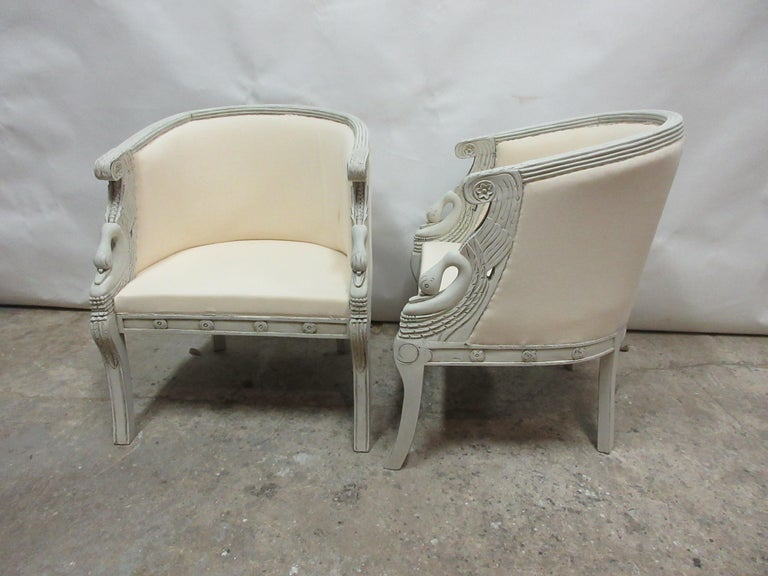 This is a set of 2 swan bergers, They have been restored and repainted with milk paints