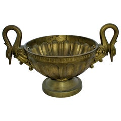 Swan Bowl, Solid Brass, Midcentury Design, Double Handle