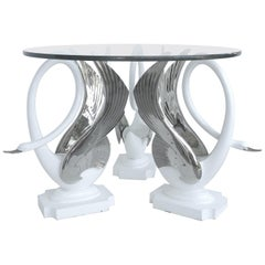 Swan Center/Side Table in Resin with Silver Bases and Round Glass Top
