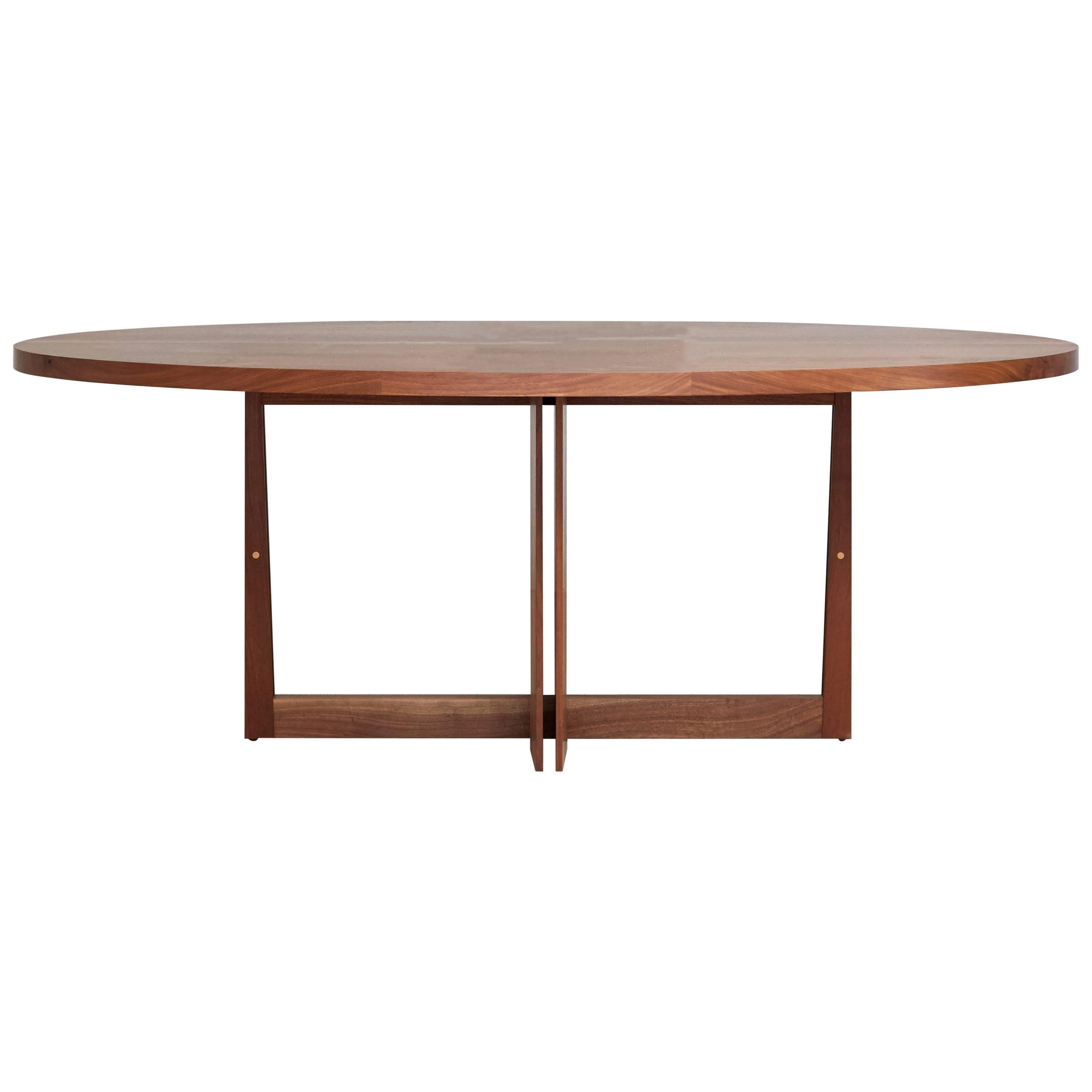 Oval Swan Dining Table in Solid Black Walnut