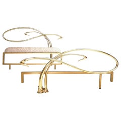 Swan Motif Art Nouveau Style Brass Queen Size Bed Frame, Italy, 1980s