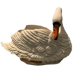 Swan Motife Ceramic Cachepot Planter