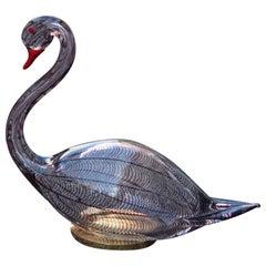 Swan Murano Glass Toni Zuccheri Attributed to Venini Murano Glass Brass Red