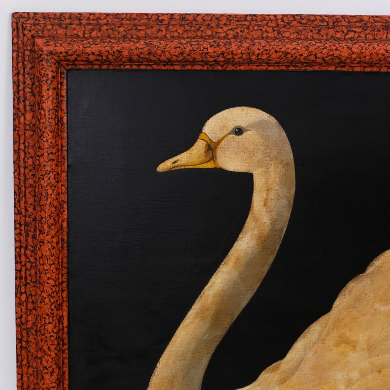 Oil painting on canvas of a graceful swan by William Skilling, executed in a tongue-in-cheek Victorian parlour painting style typical of the artist, with contrived aging and distressed finish, some evidence of old professional repair. Signed