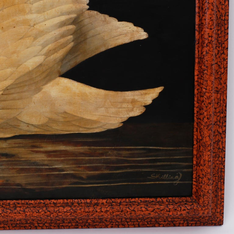 American Swan Oil on Canvas by William Skilling For Sale