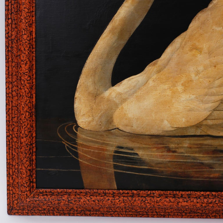 Oiled Swan Oil on Canvas by William Skilling For Sale