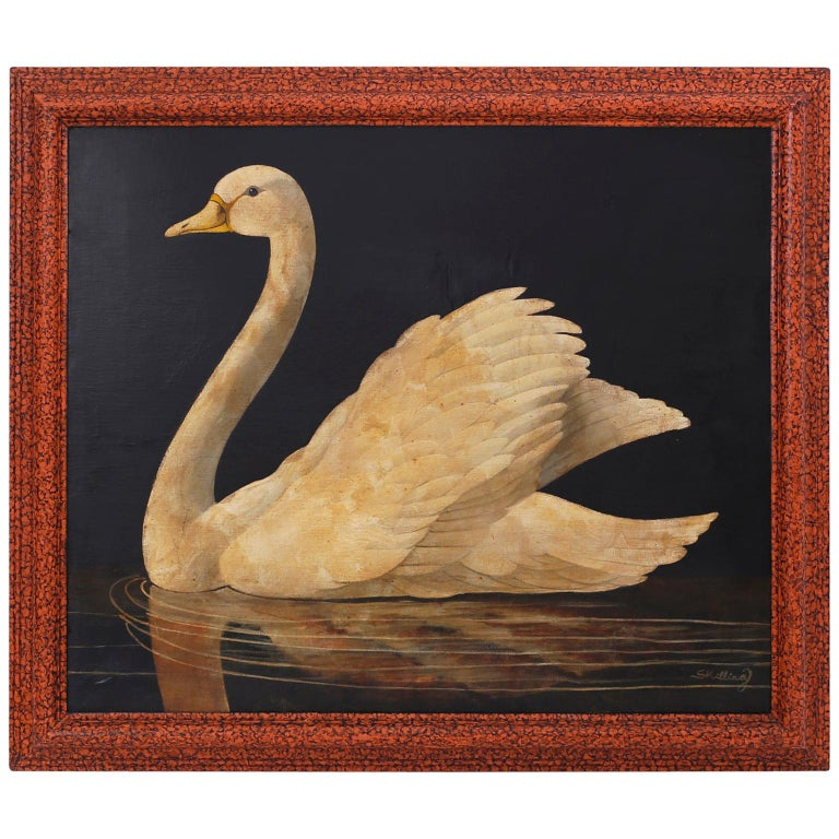 Swan Oil on Canvas by William Skilling For Sale