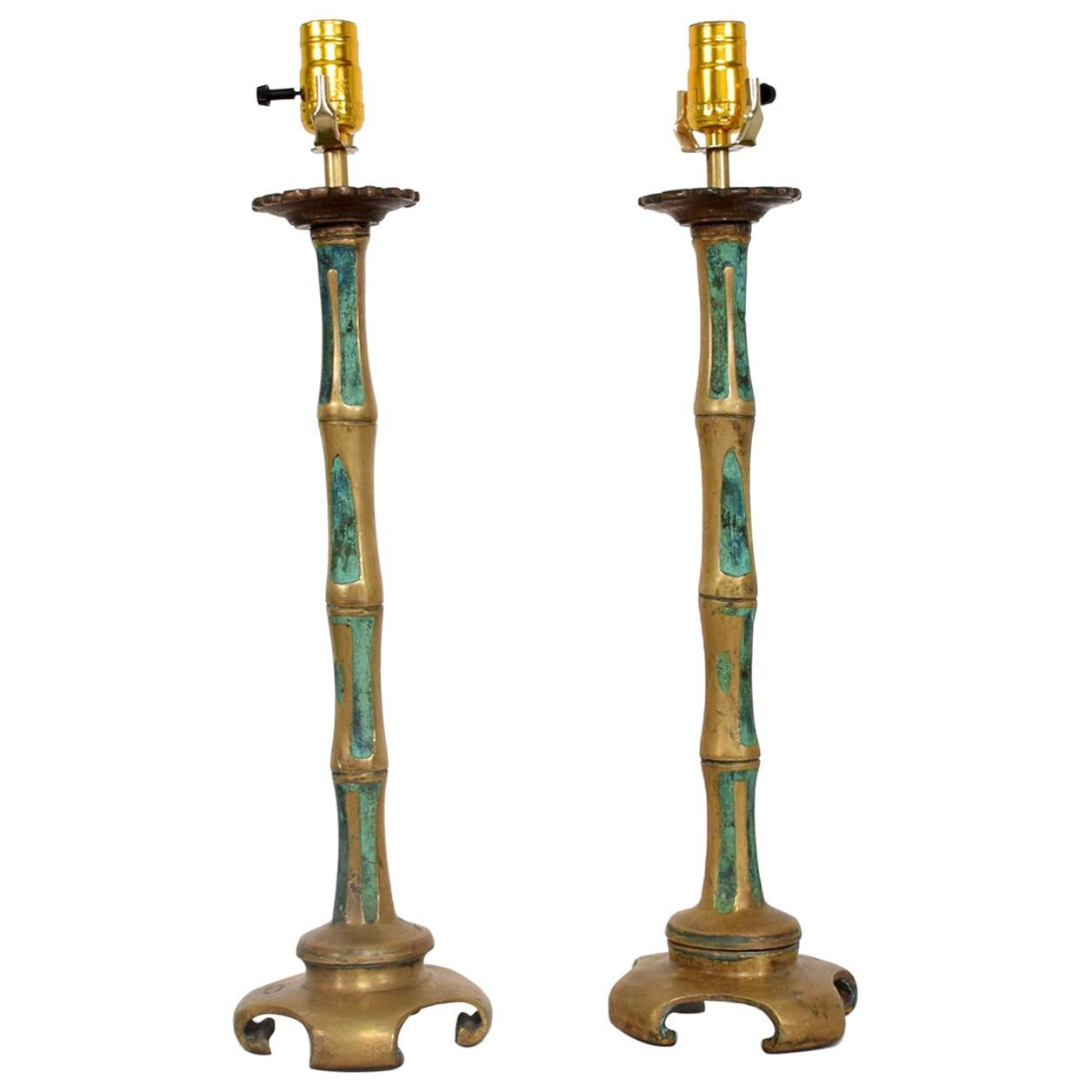 Swanky Bronze Faux Bamboo Turquoise Table Lamps by Pepe Mendoza 1950s - a Pair