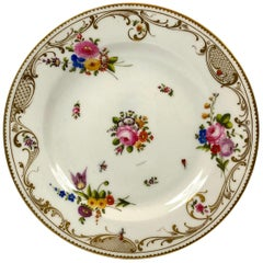 Swansea Porcelain Plate, Flowers and Insects, circa 1815