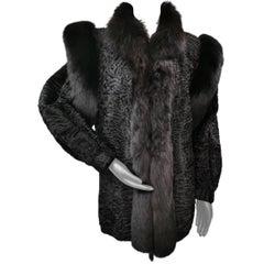 Swarkara broadtail fur with dyed shadow fox fur trim size 10