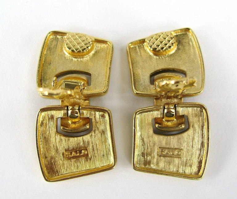 Swarovski Bezel Crystal Black enamel Earrings New, Never Worn 1980s In New Condition For Sale In Wallkill, NY
