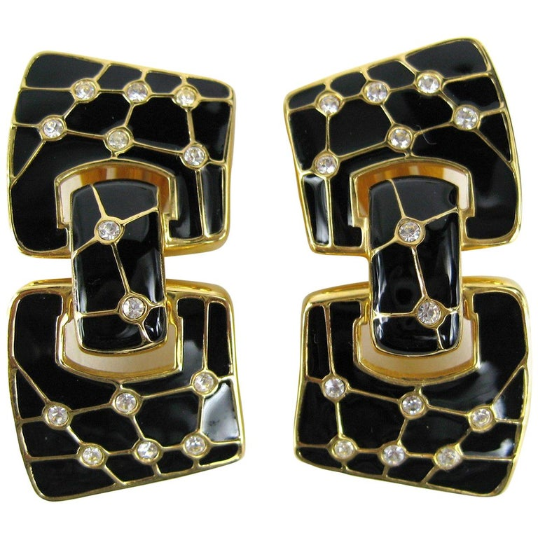 Swarovski Bezel Crystal Black enamel Earrings New, Never Worn 1980s For Sale