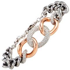 Swarovski Bound Stainless Steel Crystal Pave Chunky Chain Bracelet