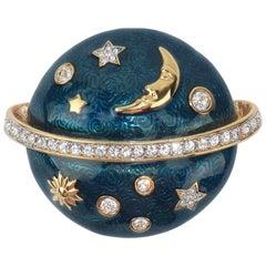 Swarovski Celestial Blue Enamel & Rhinestone Brooch