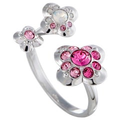 Swarovski Cherie Pink and Clear Crystal Open Flower Ring 5139721