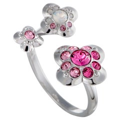 Swarovski Cherie Pink and Clear Crystal Open Flower Ring