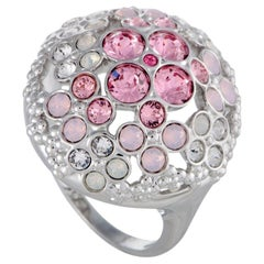 Swarovski Cherie Pink and Clear Crystals Flowers Ring