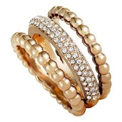 Swarovski Click 18 Karat Rose Gold-Plated and Crystal Triple-Strand Ring